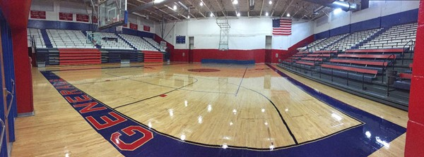 The gymnasium floors at the Jackson County Middle School, Jackson County High School and Central Office were refinished last week.  The picture is from the Central Office gymnasium floor.
