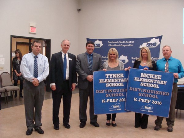 The SESC Regional Meeting was held at Corbin yesterday.  McKee Elementary School and Tyner Elementary School each received a banner for their accomplishments. Both McKee Elementary School and Tyner Elementary School are classified as Distinguished/Progressing Schools.  In addition, McKee Elementary School and Tyner Elementary School are also classified as High Performing Schools.